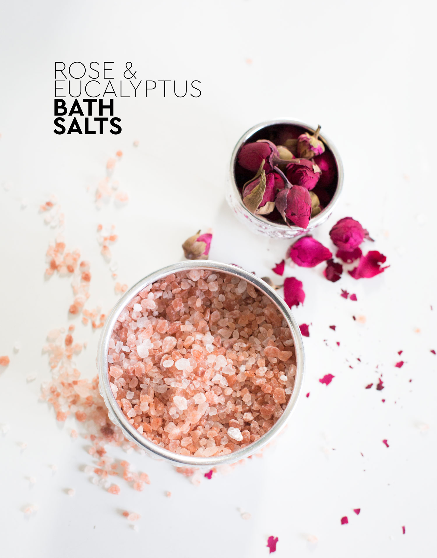 Rose and eucalyptus bath salts DIY