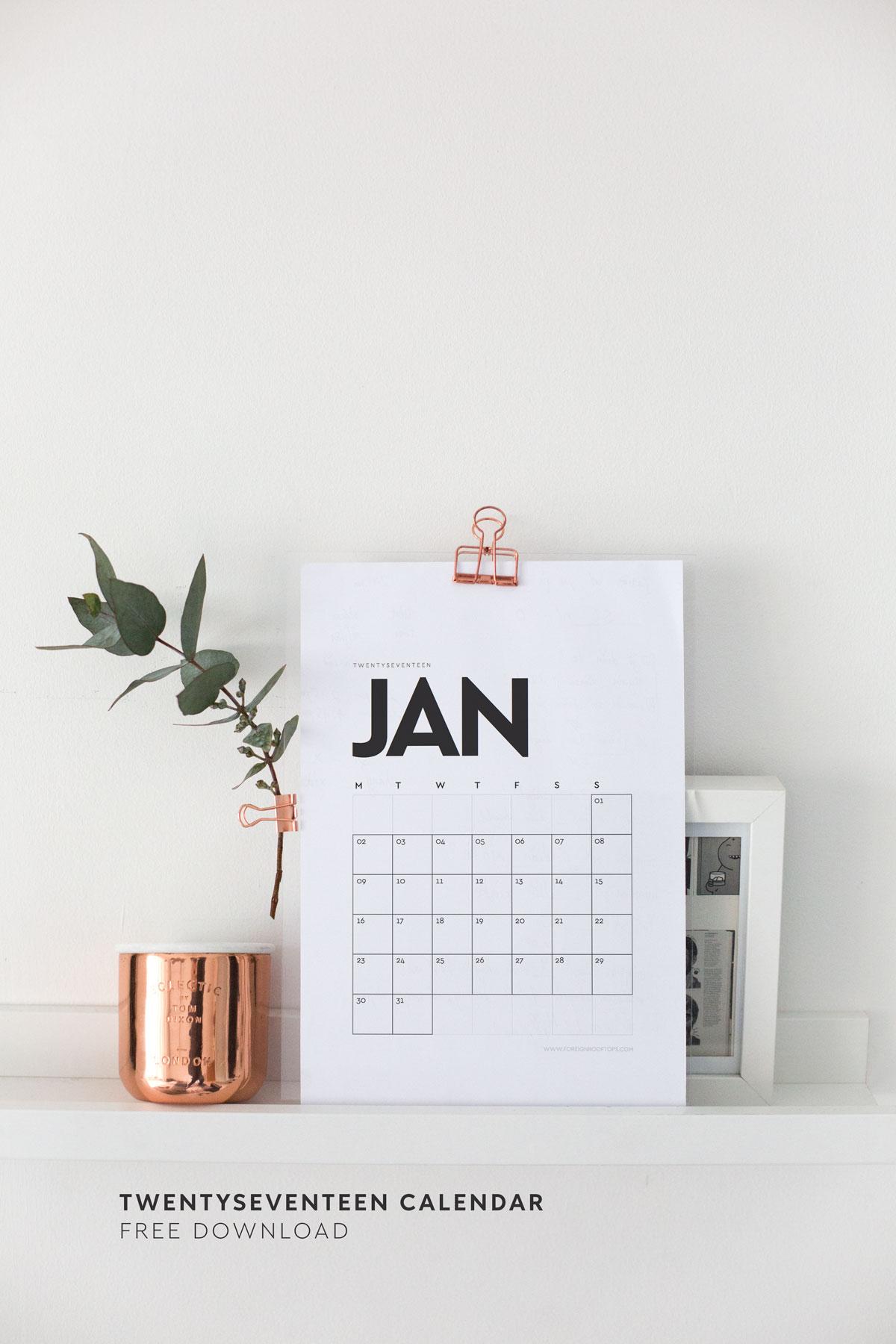 Printable Wall Calendar 2017 Free Download